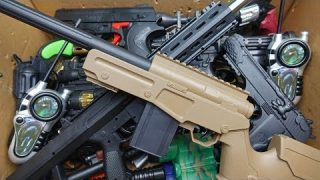 Box of Toys!! Military Toy Guns – Realistic Toy Rifles and Plastic Bullet Pistols
